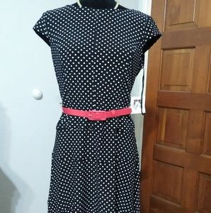 Anne Klein black & white polka dot dress sz 6 NWT